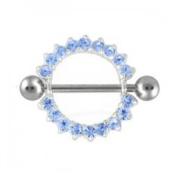 Piercing téton Cercle strass bleu-clair (27)