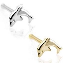 Piercing nez droit 0,8mm 21 - Or 9k dauphin