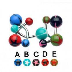 Piercing nombril UV 47 - étoile colorée