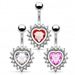 Piercing nombril coeur 21 - Entouré de zircones ronds