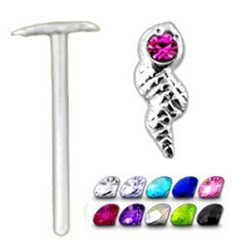 Piercing nez pliable 0.5mm 28 - Serpent strass