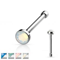 Piercing nez droit 0,8mm 93 - Strass opalite