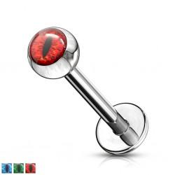 Piercing micro-labret 127 - Oeil de reptile psychédélique