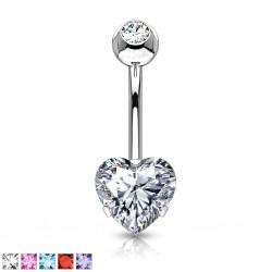 Piercing nombril coeur 88 - Double cristal