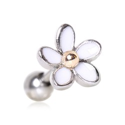 Piercing micro-labret 136 - Fleur blanche