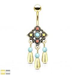 Piercing nombril vintage breloques pendantes