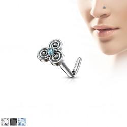 Piercing nez courbé 0.8mm 61 - Triskel strass coloré