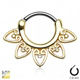 Piercing septum 49 - PVD vintage pointes et strass