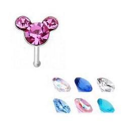Piercing nez droit 0,5mm 60 - Argent cristal Mickey