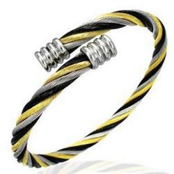 Bracelet cable 03 - Cable jaune, noir et argent