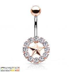 Piercing nombril étoile 33 - Cercle multistrass