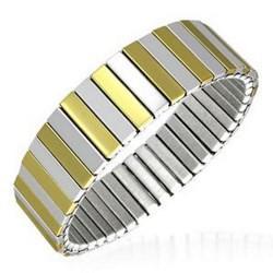 Bracelet acier flex 05 - Alternance jaune et acier