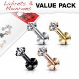 Lot de piercings micro-labrets 05 - PVD cristal rond