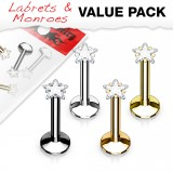 Lot de piercings micro-labrets 04 - PVD cristal étoile