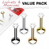 Lot de piercings micro-labrets 02 - PVD cristal carré