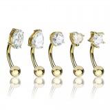 Lot de piercings arcades 09 - Gold-ip jaune cristaux transparents