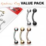Lot de piercings arcades 04 - PVD boule