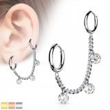Chaine pour oreille 31 - PVD Triple cristal rond