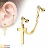 Chaine pour oreille 32 - PVD croix