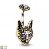Piercing nombril gothique 03 - Chat aux yeux bleus