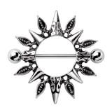 Piercing téton bouclier dagues et flèches (27)