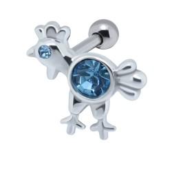 Cartilage hélix, tragus 102 - Poulet strass bleu-clair