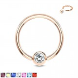 Piercing micro-bcr 93 - Gold-ip rose cristal