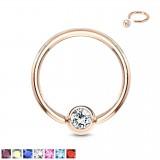 Piercing anneau 1,6mm 58 - Gold-ip rose cristal
