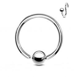 Piercing anneau 1,6mm 06 - Boule un bord attaché