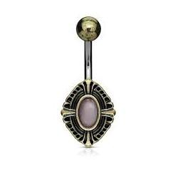 Piercing nombril vintage oval bronze avec pierre (D47)