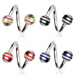 Piercing spirale 04 - Acier boules striées