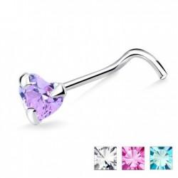 Piercing nez screw 0.5mm 09 - Coeur cristal