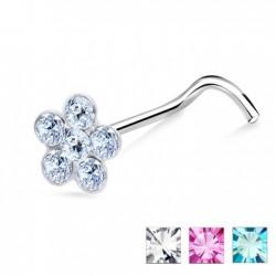 Piercing nez screw 0.5mm 11 - Fleur six strass
