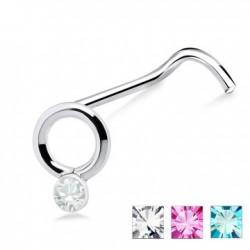 Piercing nez screw 0.5mm 22 - Esclave et strass transparent