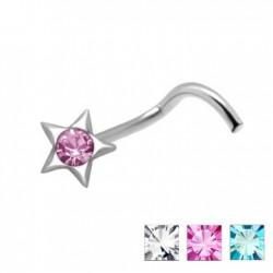 Piercing nez screw 0.5mm 49 - étoile plate strass