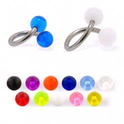 Piercing spirale 01 - UV unicolore boules