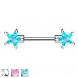 Piercing téton barbell 03 - Zircone étoile