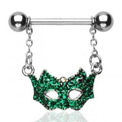 Piercing téton masque de venise fond vert (13)