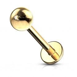 Piercing labret 11 - Boule plaqué-or
