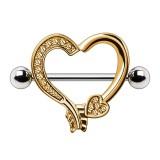 Piercing téton coeur jaune avec strass (67)