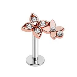 Piercing micro-labret 146 - Gold-ip rose fleurs