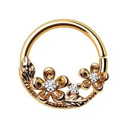 Piercing micro-bcr 203 - Fleurs gold-ip jaune