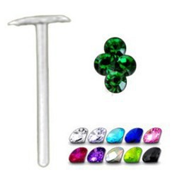 Piercing nez pliable 0.5mm 02 - 4 strass