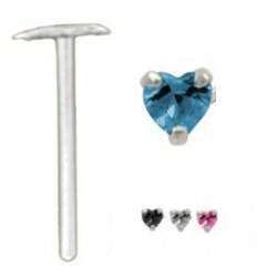 Piercing nez pliable 0.5mm 64 - Coeur zircone