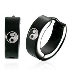 Anneaux oreilles acier 56 - Noir yin yang