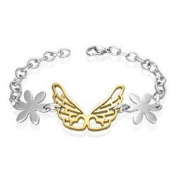 Bracelet en acier 31 - Papillon jaune et fleurs
