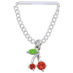 Piercing téton barbell 15 - Cerise pendante