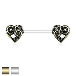 Piercing téton barbell 18 - Coeurs rouages