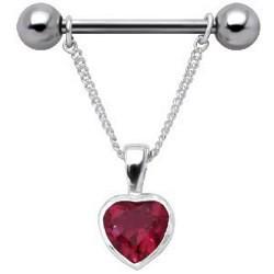 Piercing téton barbell 30 - Coeur pendant rouge