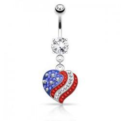 Piercing nombril cristal 34 - Férido coeur USA